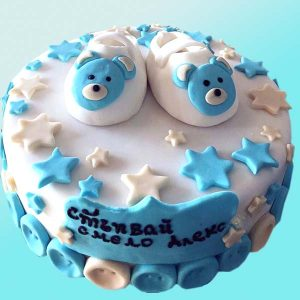 Бебешка торта стъпвай смело, с обувчици Бебешка торта с обувчици от Долче Мела