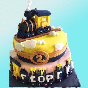 Детска торта с влакче D10 на 2 етажа - Dolce Mela