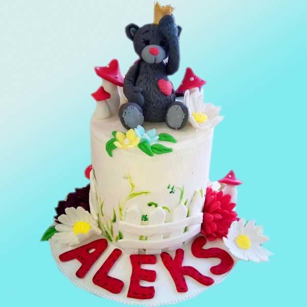 Детска торта с мече и цветя D18 - Dolce Mela