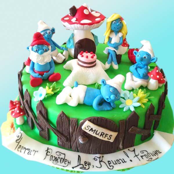 Детска торта Смърфове D28 - Dolce Mela