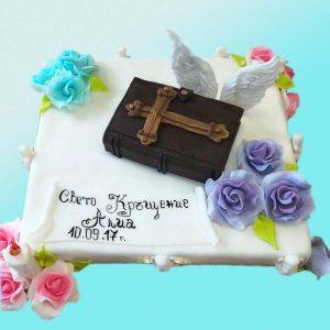 Торта за кръщене с цветя и библия B09, Dolce Mela