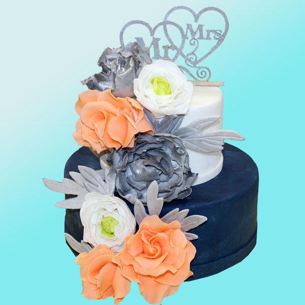 Сватбена торта Mr & Mrs, SV01 от сладкарница Dolce Mela