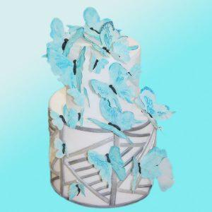 Сватбена торта сини пеперуди SV03 - Dolce Mela