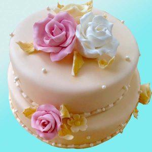 Сватбена торта с рози и перли SV06 Dolce Mela