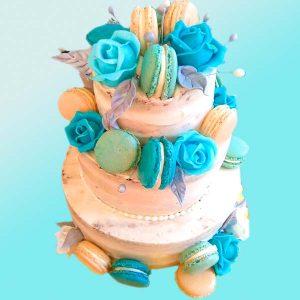 Сватбена торта с рози в синьо - SV07, от Dolce Mela