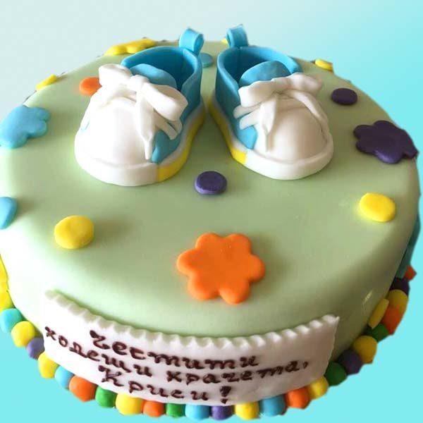 Бебешка торта за прохождане с обувчици B03 - Dolce Mela