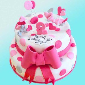 Детска торта с панделка и точки D26 - Dolce Mela