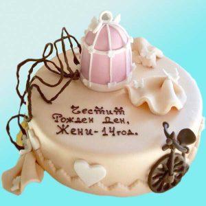 Торта с колело и клетка RD03, за рожден ден - от Dolce Mela