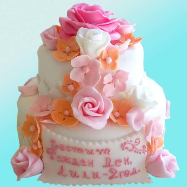 Торта с цветя за Рожден ден RD04, Dolce Mela