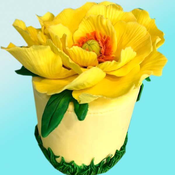 Торта жълто цвете RD38, от бутикова сладкарница Dolce Mela
