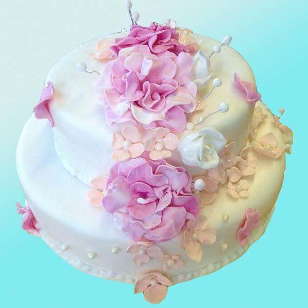 Сватбена торта с цветя и перли SV04 - Dolce Mela