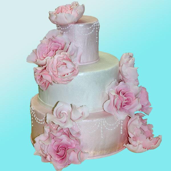 Сватбена торта с розови божури и рози SV05 - Dolce Mela