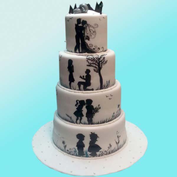 Сватбена торта Черно и бяло SV10 - Dolce Mela