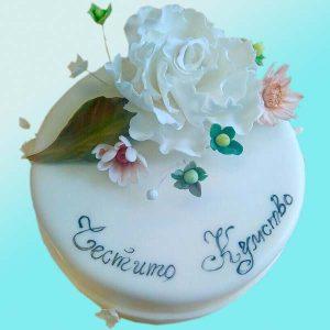 Торта за кумове с цветя SV13 - Dolce Mela